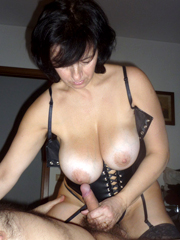 Big tits mature wife in corset jerking..