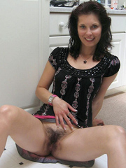 Hot housewives show their hairy beavers..